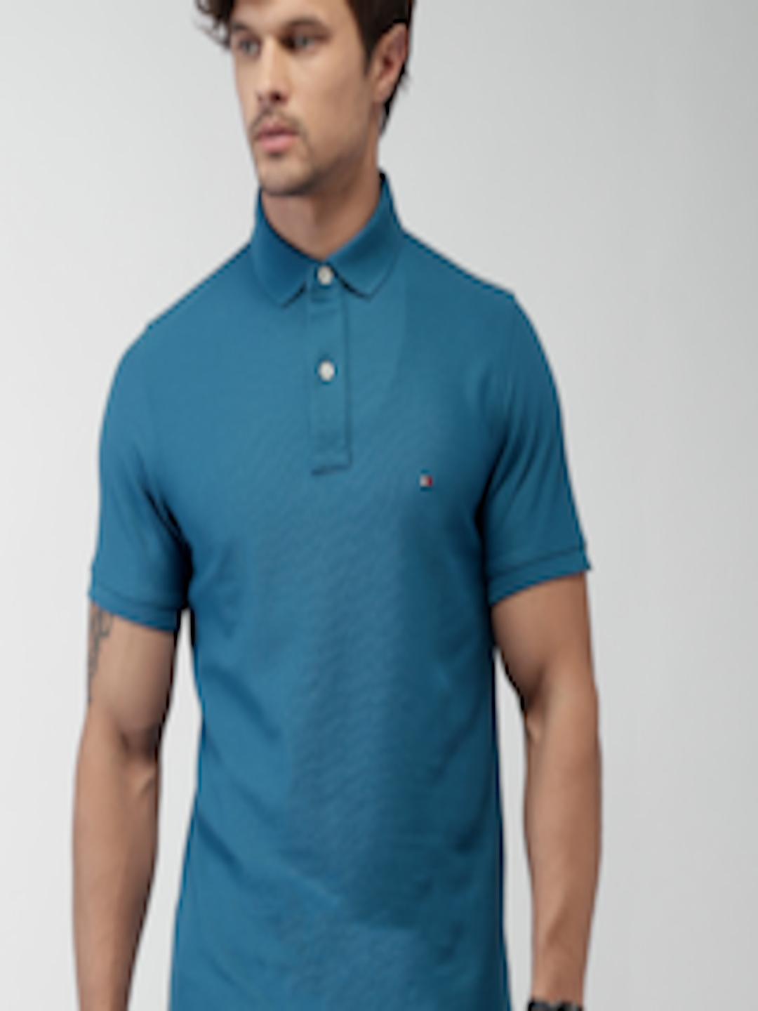 Buy Tommy Hilfiger Teal Blue Slim Fit Polo T Shirt ...