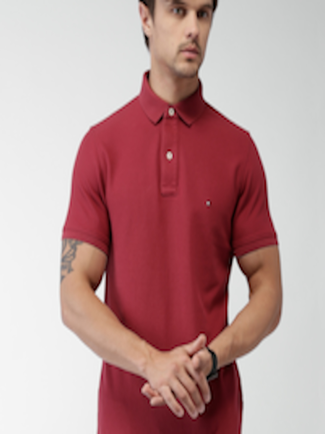 Buy Tommy Hilfiger Men Red Solid Polo T Shirt - Tshirts ...