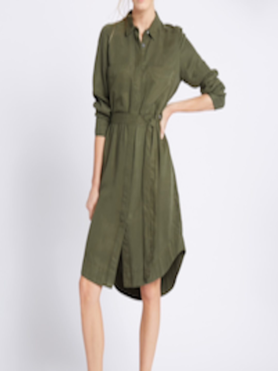 3d67888a5 Buy Marks   Spencer Women Olive Green Solid Shirt Dress - Dresses for Women  1748531