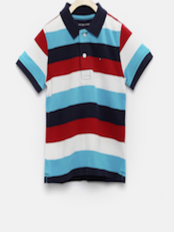 Buy Tommy Hilfiger Boys Blue Striped Polo T Shirt ...