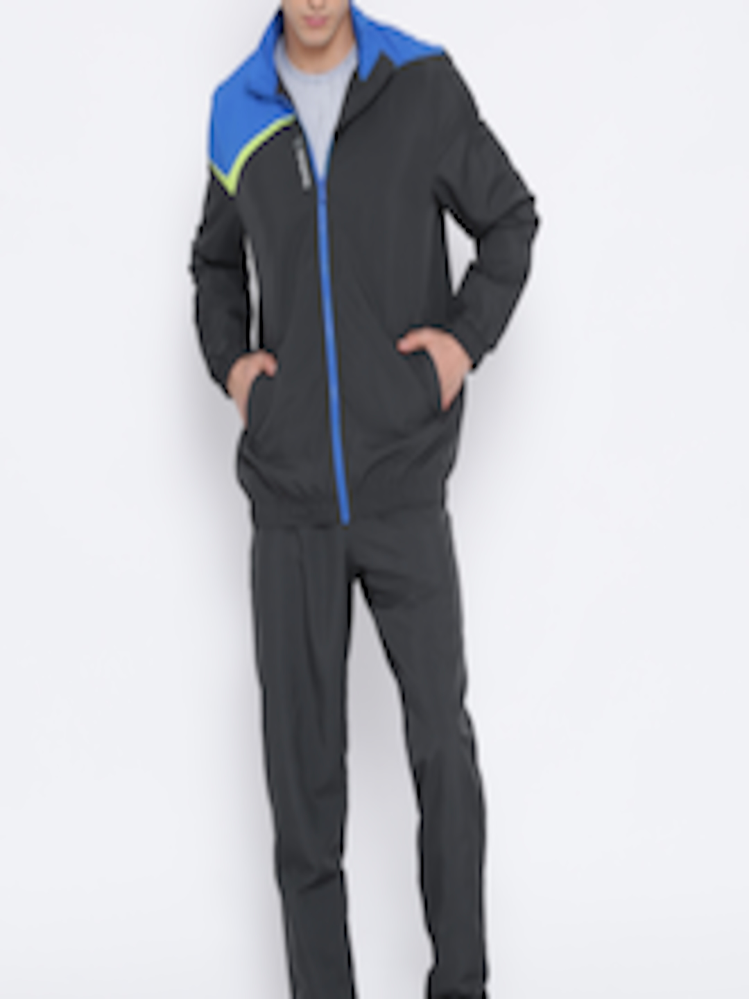 7cd93d12700c Buy Reebok Charcoal Grey M S COR Colourblocked Training Tracksuit -  Tracksuits for Men 1751465