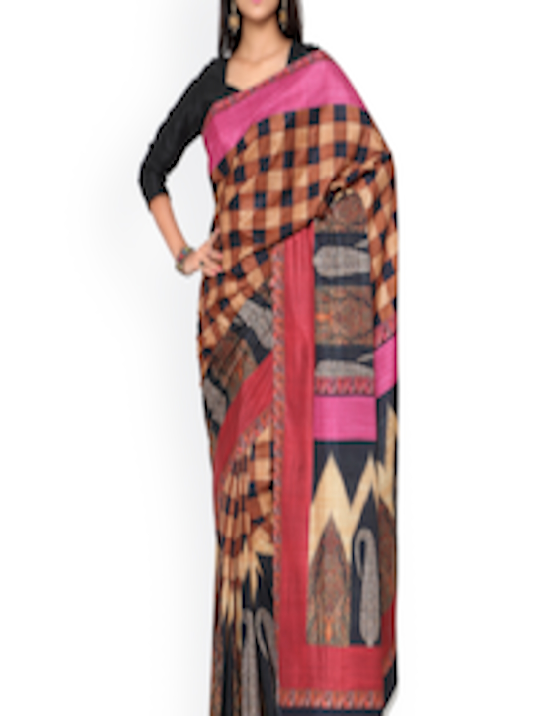 c72ac9ed4974b Buy Inddus Brown   Black Checked Crepe Printed Saree - Sarees for Women  1753749