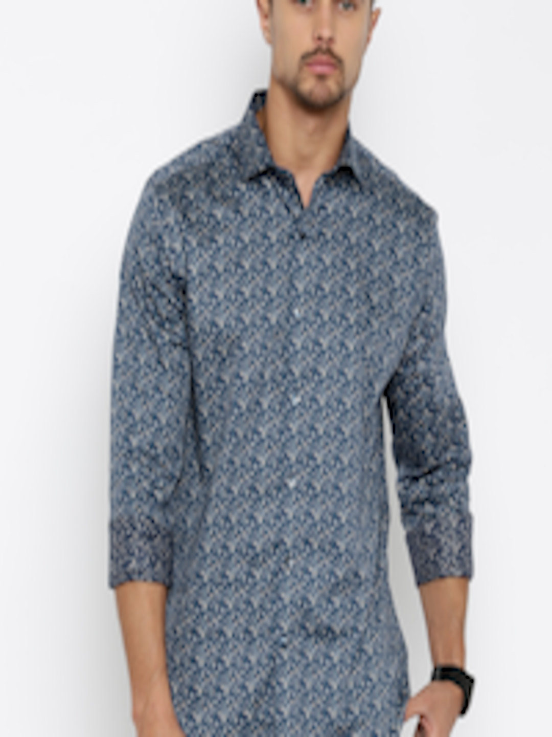 buy code by lifestyle navy blue slim fit printed semi