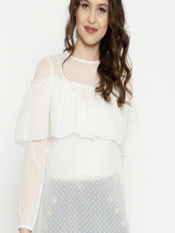 282b000c5 Buy SASSAFRAS Women Off White Swiss Dot Layered Sheer Top - Tops for Women  1774619 | Myntra
