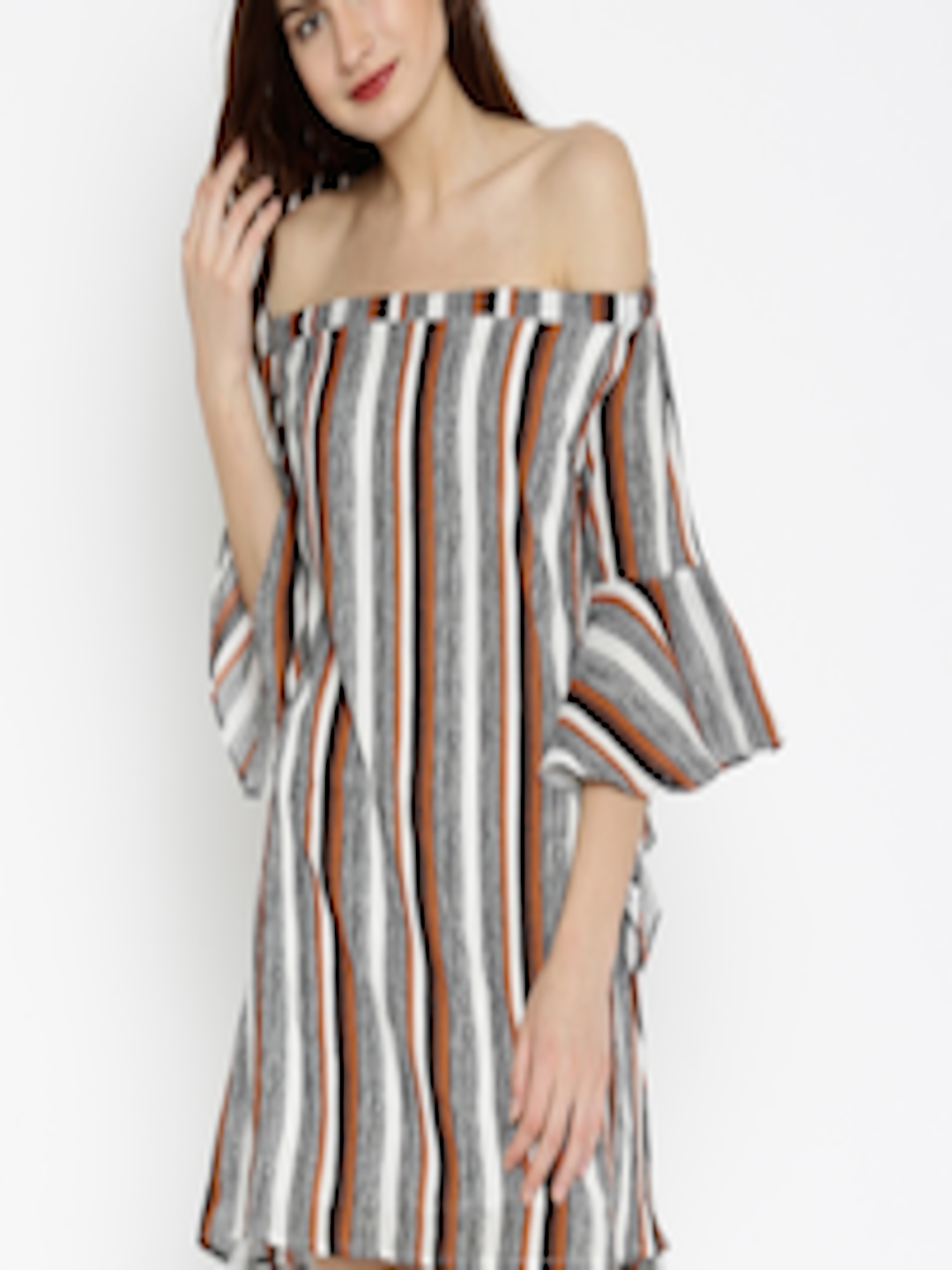 df428310e3f0 Buy SASSAFRAS Women Brown   White Striped Off Shoulder Shift Dress With A  Cut Out Back - Dresses for Women 1774664