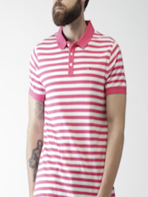 Buy Tommy Hilfiger Men Pink & White Striped Polo T Shirt ...