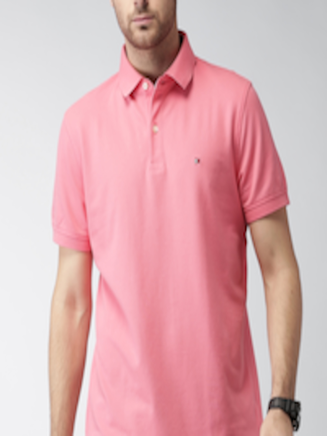 Buy Tommy Hilfiger Men Pink Solid Polo T Shirt - Tshirts ...