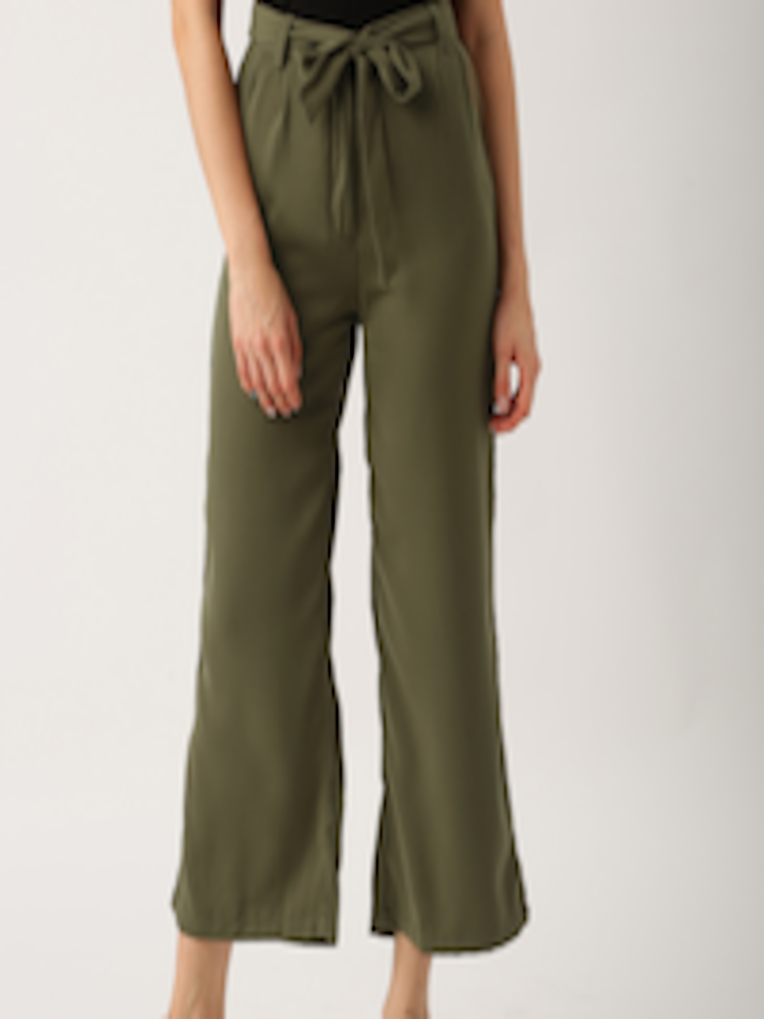 Buy Dressberry Women Olive Green Straight Palazzos Palazzos For