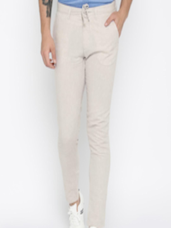 buy jack jones men beige slim fit trousers trousers. Black Bedroom Furniture Sets. Home Design Ideas