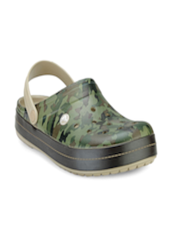 Buy Crocs Men Olive Green Camouflage Print Clogs - Flip -5034