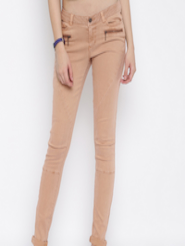 Buy Vero Moda Women Peach Coloured Super Slim Fit Low Rise