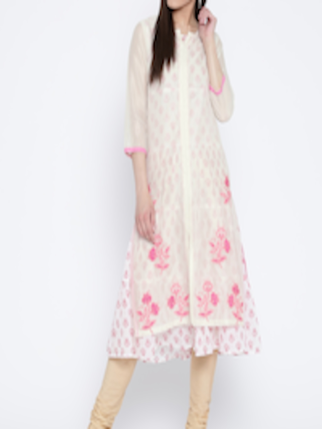 Buy Rangriti Women Off White Amp Pink Printed Layered Kurta