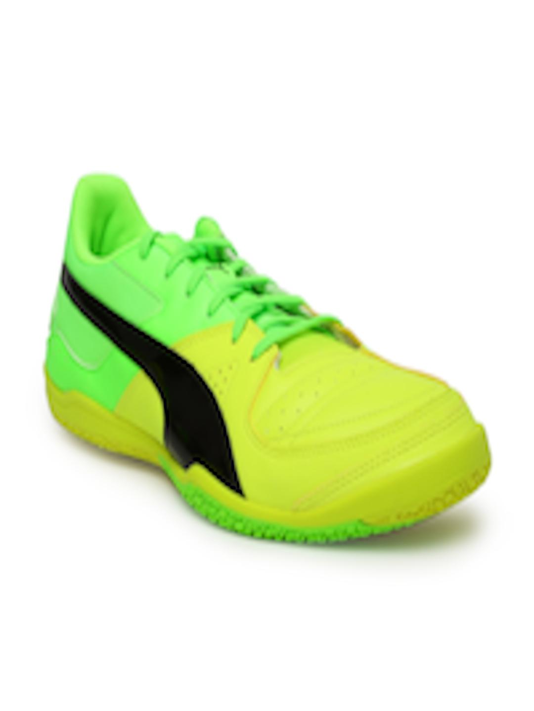 online store 6c4a0 26e2f Buy Puma Men Yellow & Flourescent Green Colourblocked Gavetto Sala Football  Shoes - - Footwear for Men
