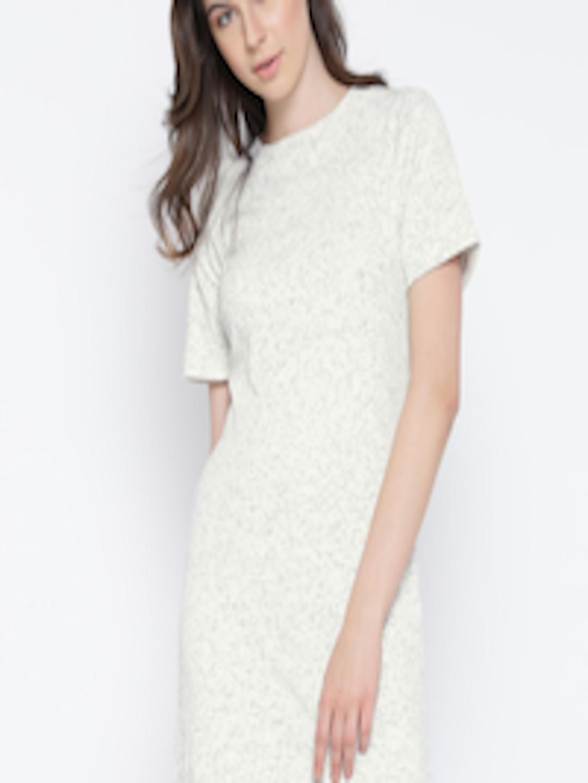 Buy Miss Chase Women Off White Self Design T Shirt Dress
