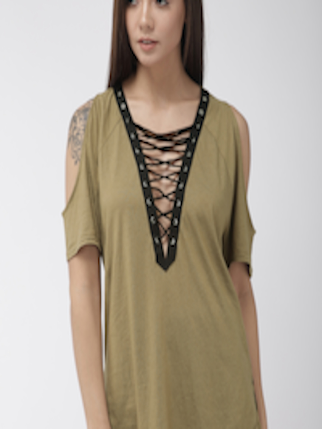 super cute to buy price reduced Buy FOREVER 21 Women Olive Green Cold Shoulder Top - - Apparel for Women
