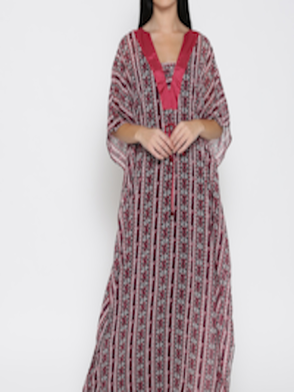acca3a114e Buy The Kaftan Company Red Printed Kaftan Maxi Semi Sheer Nightdress  LW EASYFT014 - Nightdress for Women 1853958