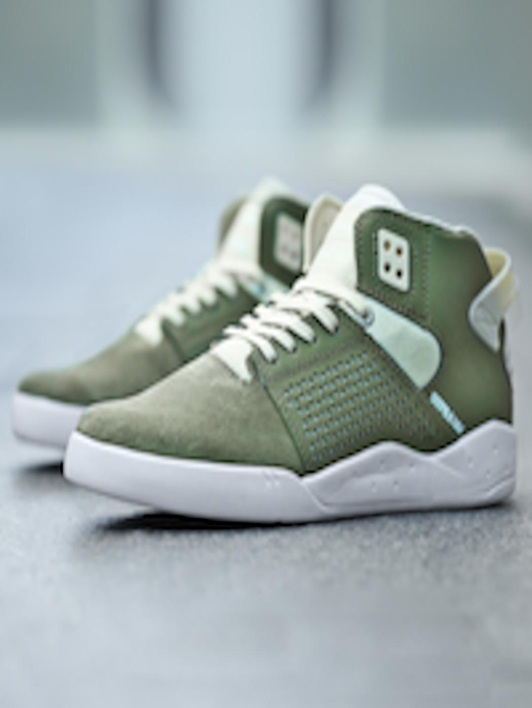 f8914c1d8162 Buy Supra Men Olive Green Suede Skytop III Mid Top Sneakers - Casual Shoes  for Men 1857654