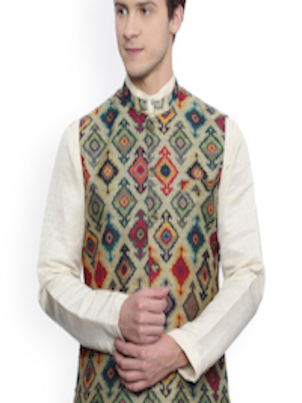 Smart Buy Auto >> Buy Mayank Modi Multicoloured Printed Chanderi Nehru Jacket - Nehru Jackets for Men 1868434   Myntra