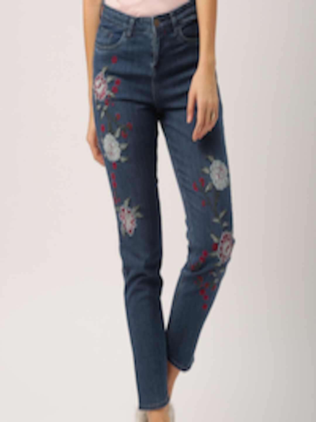 Buy All About You Women Blue Straight Fit Embroidered ...
