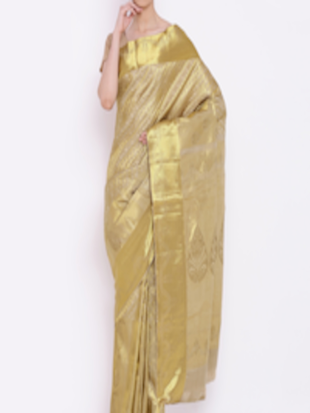 Buy The Chennai Silks Classicate Beige Amp Gold Toned Pure