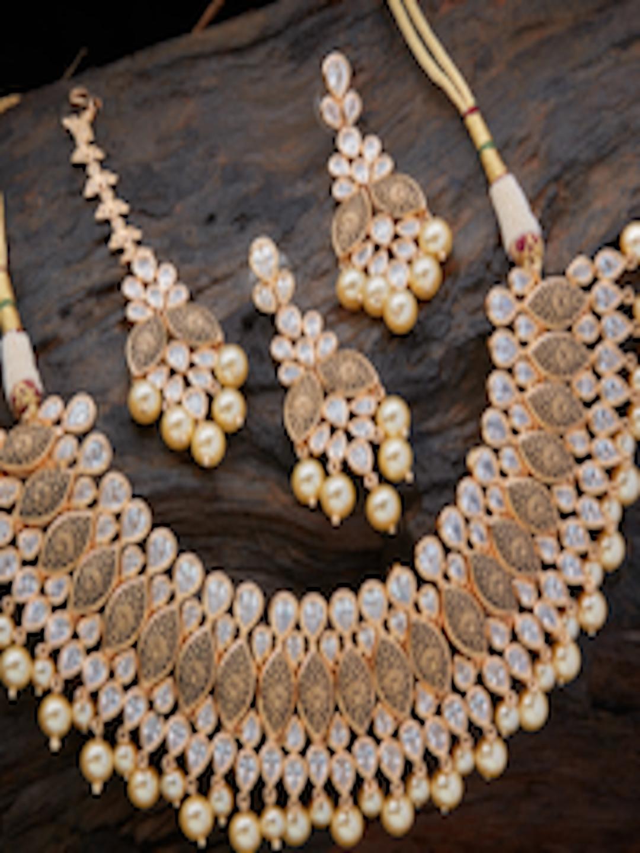 buy kushal s fashion jewellery gold toned zircon jewellery set