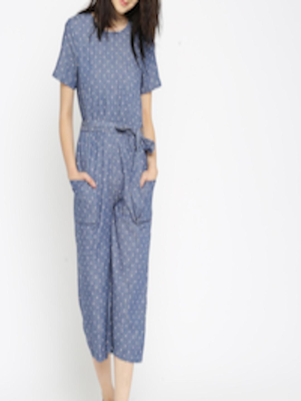 Buy Vero Moda Blue Chambray Polka Dot Print Jumpsuit
