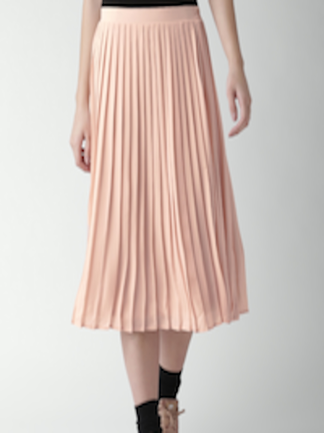 4d8cf0e042 Buy FOREVER 21 Peach Coloured Midi Flared Skirt With Accordion ...