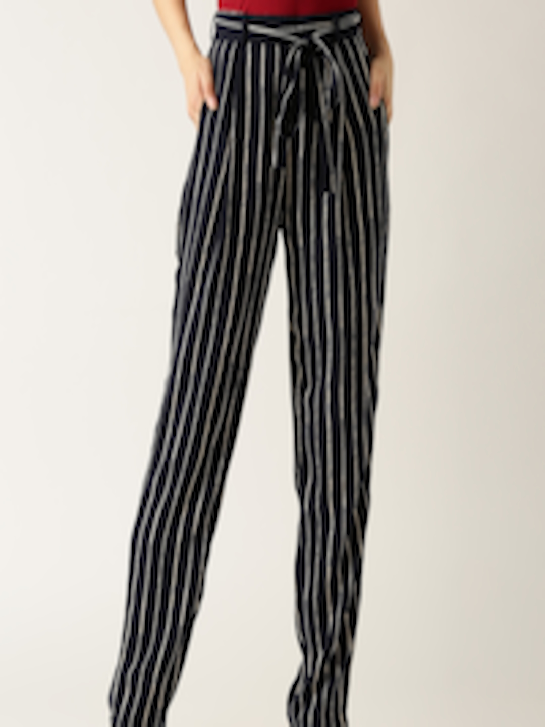 c85b8a7e283c Buy Marie Claire Women Navy   White Original Fit Striped Peg Trousers -  Trousers for Women 1968349