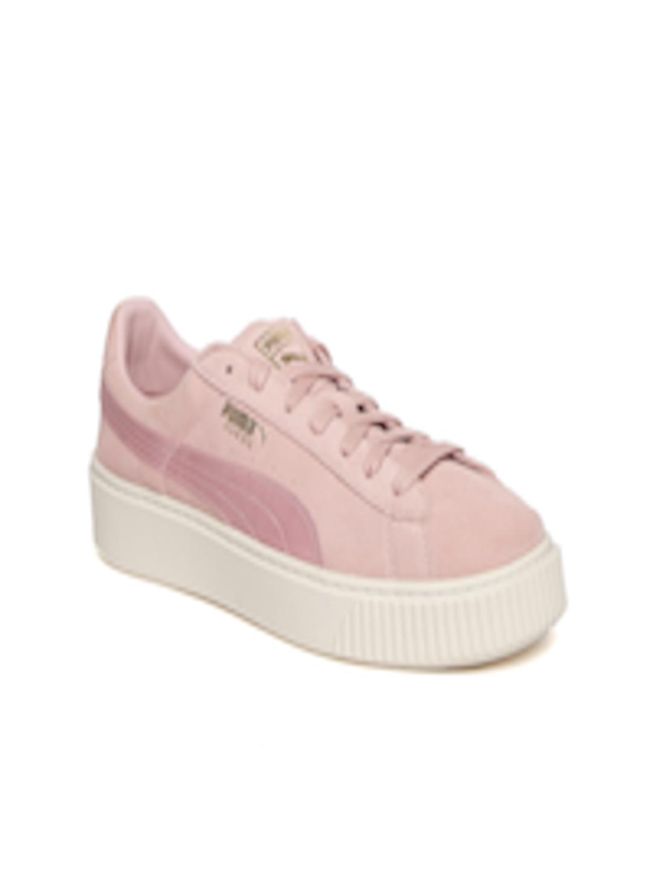 premium selection 06db7 a7627 Buy Puma Women Pink Platform Mono Satin Suede Sneakers - - Footwear for  Women