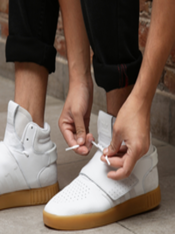 cbd3da8c327f93 ADIDAS Originals Men White Tubular Invader Strap Mid-Top Leather Sneakers