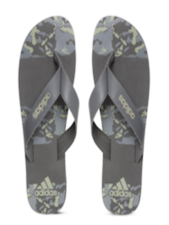Buy Adidas Men Grey  Olive Green Laken Printed Thong Flip -7229