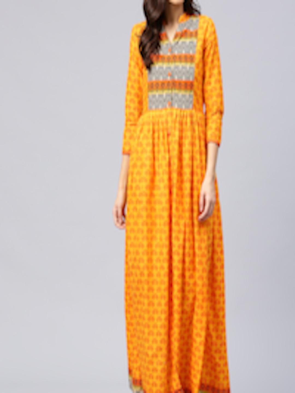 e350aed2532 Buy AKS Women Mustard Yellow   Orange Printed Maxi Dress - Dresses for Women  1995636