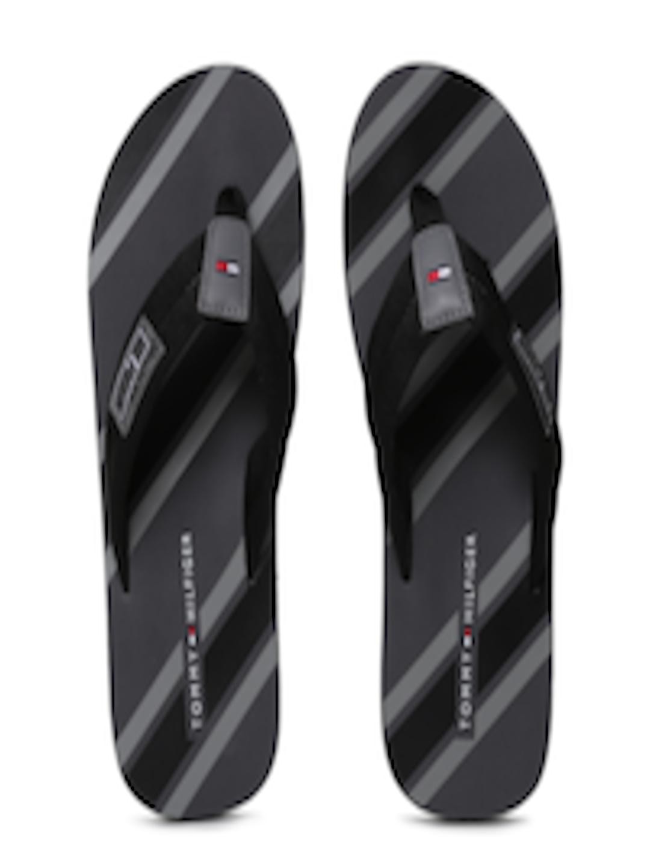 buy tommy hilfiger men black grey striped flip flops. Black Bedroom Furniture Sets. Home Design Ideas