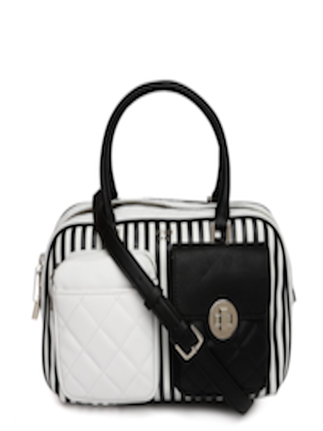 5a3b7413db Guess Black White Striped Handheld Bag With Detachable Sling