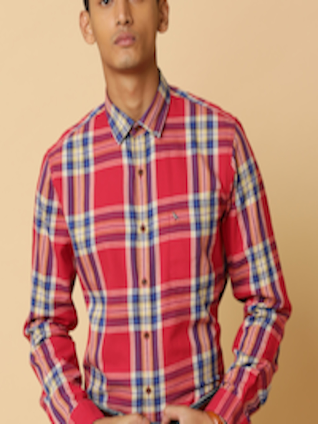 Buy Mr Bowerbird Men Red Tailored Fit Brushed Cotton Plaid ...