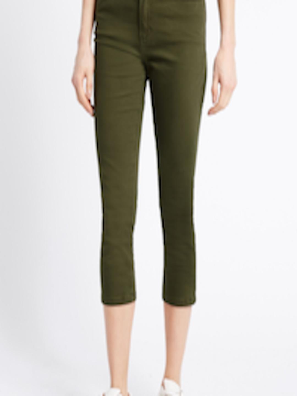 Buy Marks Amp Spencer Women Olive Green Super Skinny Fit Mid