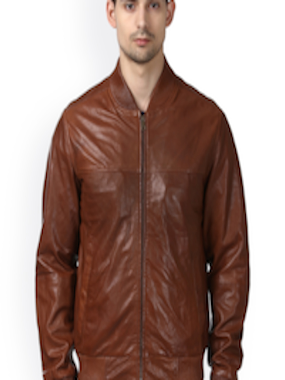 aa7f1feba Buy Park Avenue Men Brown Leather Solid Bomber Jacket - - Apparel for Men