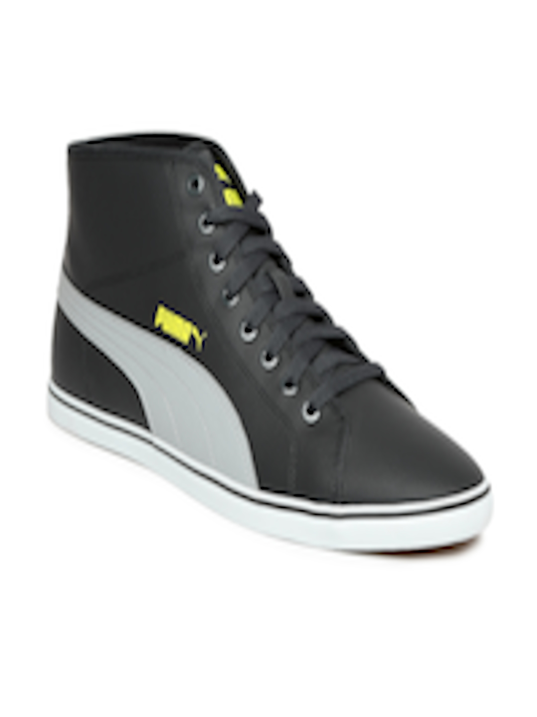 Buy Puma Men Grey Solid Synthetic Leather Mid Top Elsu V2 Mid SL Sneakers -  Casual Shoes for Men 2030536  f5188469e