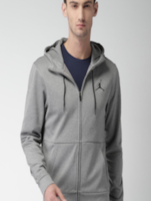 1b5e8ef6040 Buy Nike Jordan Men Grey 23 Alpha Therma FZ Solid Hooded Sweatshirt ...
