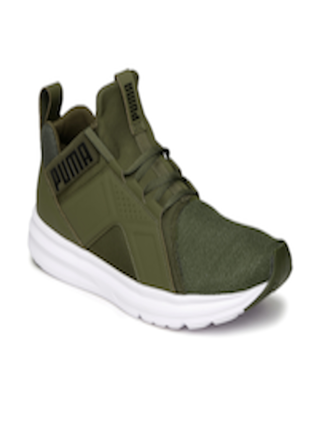 Buy Puma Men Olive Green Enzo Mesh Running Shoes Sports