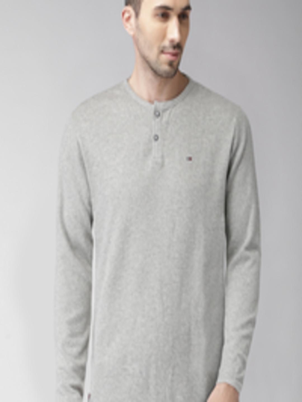 2928c9ab Buy Tommy Hilfiger Men Grey Self Design Henley Neck T Shirt ...