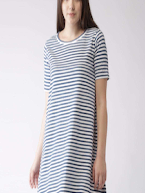 f163b2edad6d Buy Mast & Harbour Women Navy & White Striped T Shirt Dress - Dresses for  Women 2051556 | Myntra