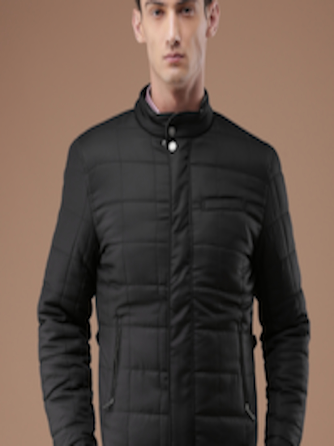 Buy Louis Philippe Men Black Solid Quilted Jacket ...