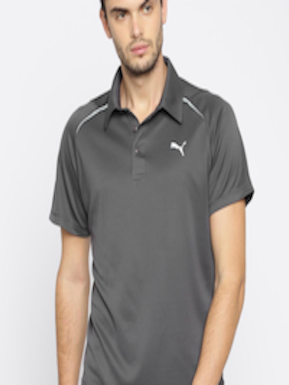 Buy Puma Men Charcoal Grey Solid Polo Collar Essential T