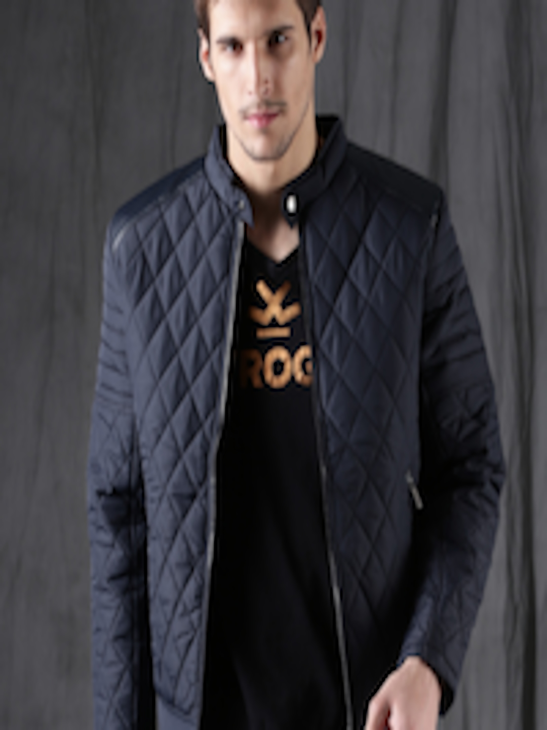 157e3147cc2bf Buy WROGN Men Navy Blue Solid Quilted Jacket - Jackets for Men 2071611