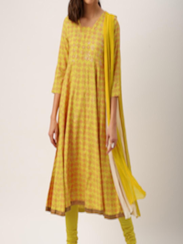 Buy Imara Women Mustard Yellow Printed Kurta With Churidar