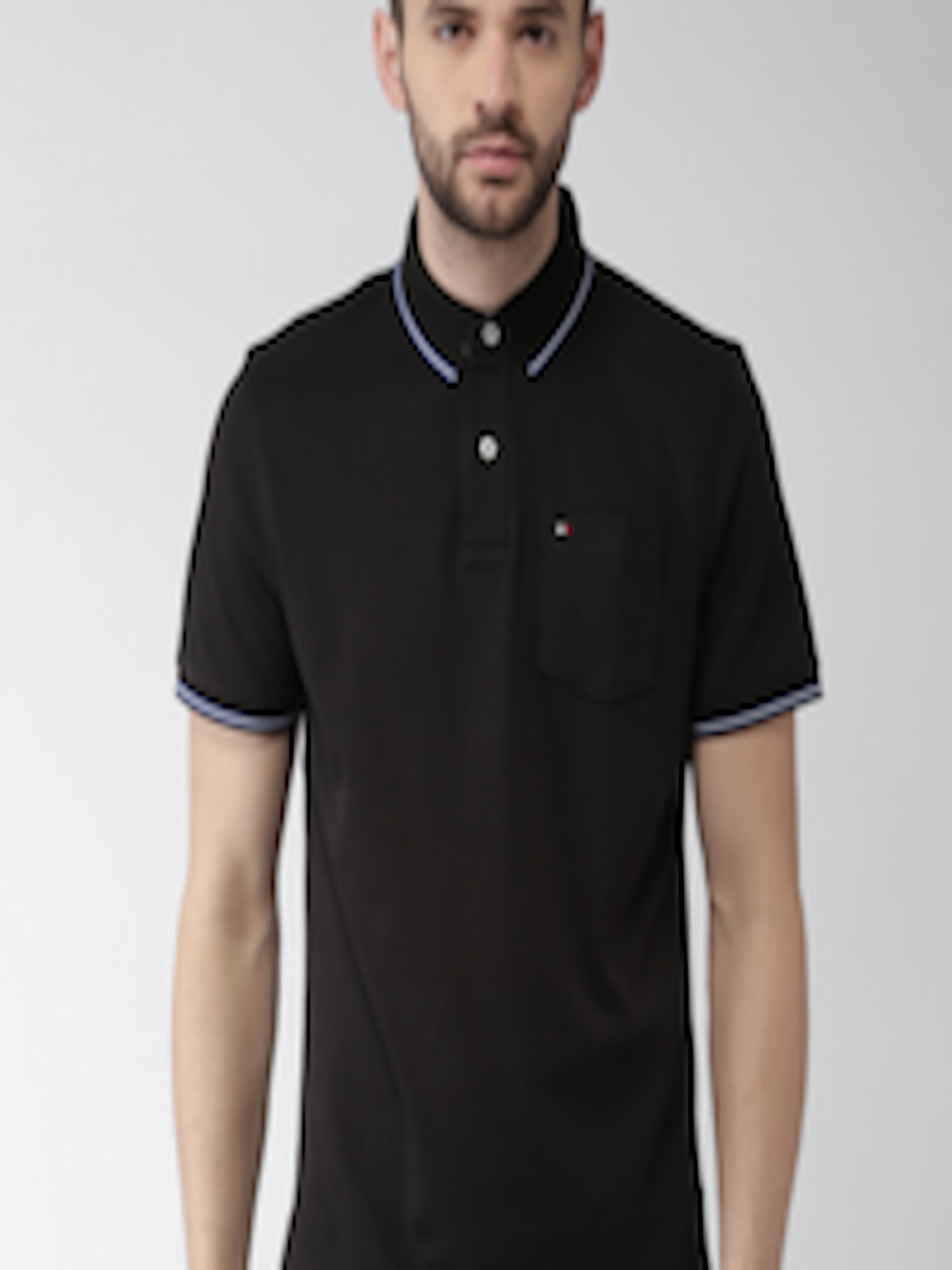 Buy Tommy Hilfiger Men Black Solid Loose Fit Polo Collar T ...