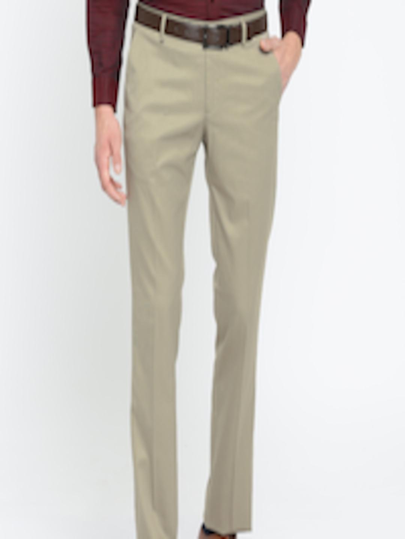 buy arrow men brown slim fit self design formal trousers
