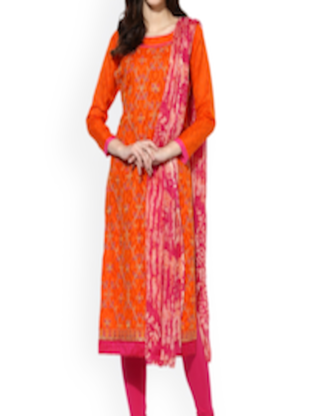 Buy Saree Mall Orange Amp Pink Cotton Blend Embroidered