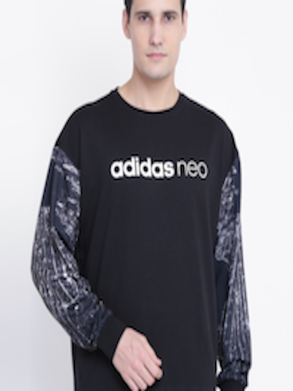 ADIDAS NEO Adidas NEO Men Black Branded Graphic Printed Sweatshirt